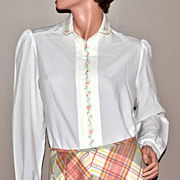 SALE 1970s Inner Visions ~ Ship N' Shore White Blouse Shirt