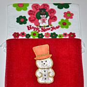 SALE Set of 2 Christmas Kitchen/Bath Fringe Towels