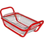 SALE Glass Loaf Pan with Red Enamel Carrier/Holder