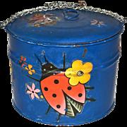 SALE 1960s Rustic Ladybug Decoupage Blue Chain Pail w/ Lid