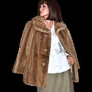 1960s Grandella ~ Sportowne ~ Honey Brown Faux Fur Coat