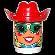 SALE 1970s Deka ~ Blonde Girl Mug w/ Red Cowboy Hat