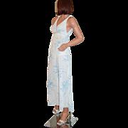 SALE 1960/70s Miss Elaine ~ Blue Floral Nylon & Lace Maxi Nightgown
