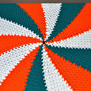 SALE Round Orange & Green Crochet Candy Swirl Throw Blanket