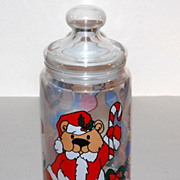 SALE 1970/80s Christmas Teddy Bear Candy Jar ~ Made in France