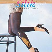 SALE 1970/80s Silik ~ Black Nylon Footless Leopard Tights or Leggings in Original Package