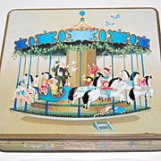 SALE 1984 F de Gail Signed Children on Carousel & Fun Times Candy Tin