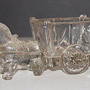 SOLD 1930s Jeanette Glass ~ Donkey & Cart Glass Candy Container