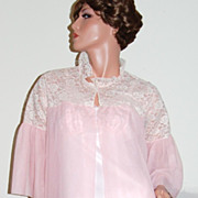 SALE 1950/60s Mary Barron ~ Long Pink Double Chiffon & Lace Robe