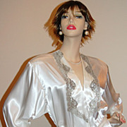 SALE 1980s Victoria's Secret ~ Satin Pearl & Silver Long Lace Robe