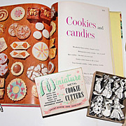 SALE 1950s Miniature Boxed Cookie Cutters & Dessert Cook Book