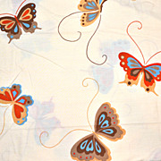 SALE 1970s Martex ~ Happy Butterfly Twin Sheet Set