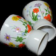 SALE Lefton ~ Set of 2 Handpainted Floral Porcelain Egg Cups