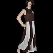 SALE 1960s Fred Rothschild ~ ILGWU Chocolate Swirl Maxi Dress