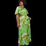 SALE 1970s Hawaii Nei ~ Light Green Floral Maxi Dress