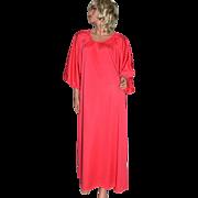 SALE 1970s Claire Haddad ~ Fuchsia Pink Nylon Maxi Hostess Gown