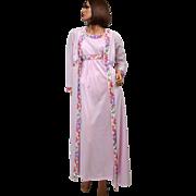 SALE 1970s Emilio Pucci ~ 2-Pc Pink Mauve Nylon Nightgown & Peignoir Robe