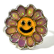 SALE 1960s Smiley-Face Flower Power Adjustable Ring