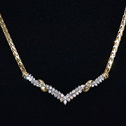 SALE 14K 1.06 ct tw Diamond V-Style Necklace