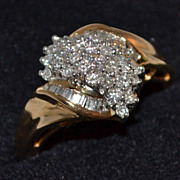 SALE 14K 0.9 ct Baguette & Round Waterfall Diamond Ring