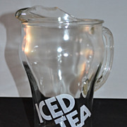 SALE 1970s Iced Tea Glass Pitcher w/ Ice Lip