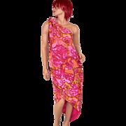 SALE 1960s Nikki's ~ Pucci-Inspired Pink Paisley Sarong Dress