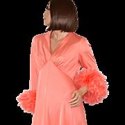 SOLD 1970s Dan Lee Couture ~ Coral Peach Feather Cuff Maxi Dress