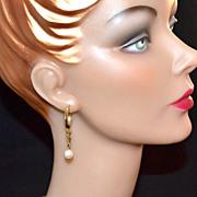 SALE 1970s Faux White Pearl w/ Goldtone Hoop Earrings