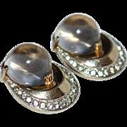 SALE 1940s Trifari Sterling ~ Lucite & Rhinestone Clip Earrings ~ Book Piece