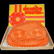 SALE 1960s Flower Power 4-Pc Orange Woven Abaca Hot Pads/Trivets ~ Mint in Box!