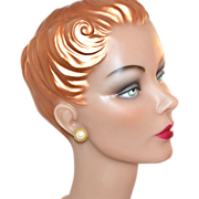 SALE Faux Mabe Pearl w/ Goldtone Rope Trim Pierced Earrings