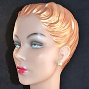 SALE Large 13mm Faux Pearl Pierced Earrings