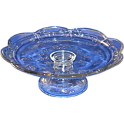 SALE Embossed Glass Rose Pedestal Cake Plate