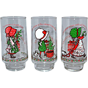 SALE 1970s Holly Hobbie ~ Set of 6 Coca-Cola Limited Edition Christmas Glasses
