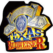 "SALE 1989 24"" Lighted Texas Budweiser Promotional Advertising Sign"