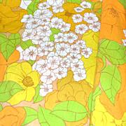 SALE 1960s Burlington ~ Orange & Yellow Hibiscus Flower No Iron Full Flat Sheet