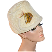 SALE 1930/40s Mister T ~ Cream White Wool w/ Feather Hat
