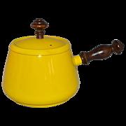 SALE 1960s Tyson ~ Sunny Yellow Fondue Pot w/ Original Lid