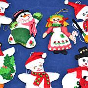 SALE 1980s Set of 7 Folk Art Style Christmas Ornaments