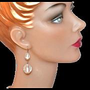 SALE Lucite Rock Chunk Dangle Earrings
