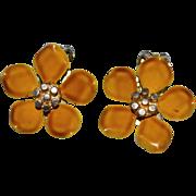 SALE 1960s Gold Enamel Flower Clip Earrings
