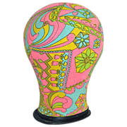 SALE 1960s Psychedelic Pink & Green Fabric Mannequin Head