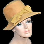 SALE 1960s Glenover/Henry Pollack ~ Mustard Gold Wool Square Brim Hat