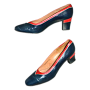 SALE 1960s Dominic Romano ~ Navy Blue & Red Leather Heels