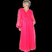 SALE 1960s Mike Benet ~ Fuchsia Pink Chiffon & Rhinestone Maxi Dress ~ Size 18.5
