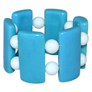 SALE Chunky Caribbean Blue Lucite Stretch Bracelet