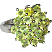 SALE Sterling & Peridot Cluster Cocktail Ring ~ Size 6.75