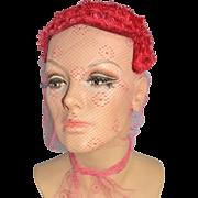 SALE 1950s Kaufmann Fifth Avenue ~ Custom Cherry Red Netted Veil Hat Topper/Skull Cap