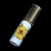 SALE 1950s Yellow Flower Milk Glass Purse Size Perfume Atomizer
