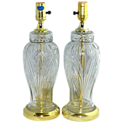 SALE Set of 2 Excelsior Molded Cut Glass Table Lamps